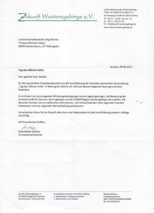 Hoftag 2015 Danksagung Verein Zukunft Westerzgebirge e.V.